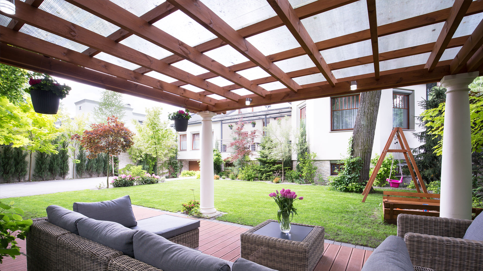 Home san diego residential patios lattice shade covers and solid roof covers - Amenagement exterieur maison ...